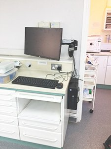 An onsite PC set up for a dental practise with limited spacing.