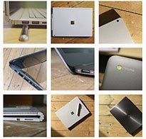 differing images of laptops, such as the surface pro, google chromebook, HP and more
