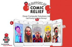 Dove Computers Team using snap chat filters for Red Nose Day