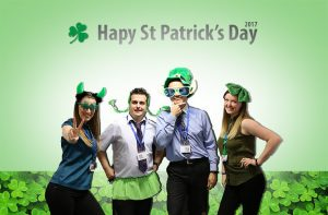 The Dove Computers Team dressed up in green for St Patrick's Day 2017