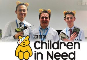 The Dove Computers Technicians sporting pudsy bear ears for a FREE hard drive destruction day