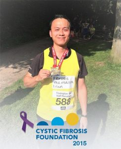 The DCS Boss, Yi, after he ran his half marathon for the cystic fibrosis foundation