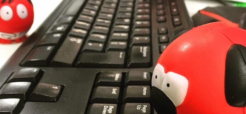 3 red noses on a Microsoft keyboard