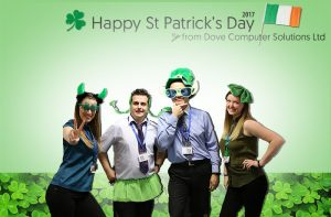 The Dove Computer Team all dressed in green celebrating St Patrick's' Day 2017